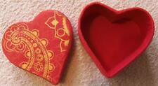 "3-1/4"" x 3-1/4"" Heavy Red with gold paint Valentine Heart Ring Jewelry Box"