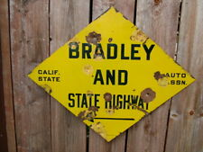 1940's Aaa California Highway Porcelain Bradley And State H 00004000 Ighway Sign