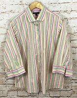 Lands End womens 22W button up shirt blouse 3/4 slv striped pink green top Z1