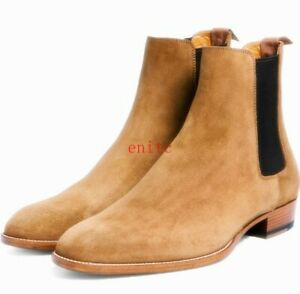 Mens Real Suede Leather Pull on Pointy Toe Chelsea Ankle Boots High Top Shoes Sz