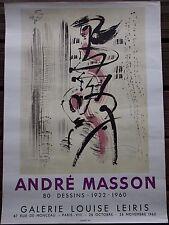 MASSON André Affiche lithographie 80 dessins Galerie Louise Leiris Mourlot 1960