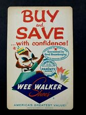 Vintage advertising heavy paper point of sale sign Wee Walker Shoes 1959