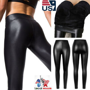 Womens Faux Leather Leggings High Waist Stretch-Fit Push Up Pencil Pants Skinny
