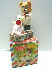 1954 T.N Tin Battery Operated Multi-Action Barber Bear with Box. Excellent.Works