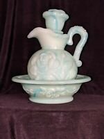 Vintage Avon Blue Green Milk Glass Pitcher Decanter withStopper and Bowl