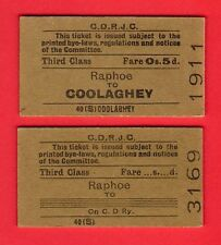 County Donegal Railways ~ 2 Tickets - 3rd Class Singles from Raphoe: Coolaghey