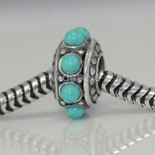 1 Sterling Silver Charm Turquoise Flower Bead For European charm bracelet #EC07