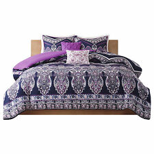 Queen / Full Size Bedding Set Chevron 5 Piece Comforter Modern Adley Purple NEW