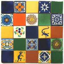 ANGEBOT: 25 mexikanische, handbemalte Fliesen, 2. Wahl, je 5x5cm, Mosaik, Kachel