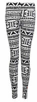 LADIES WOMENS PRINTED STRETCHY SOFT LEGGINGS ELASTICATED WAIST PLUS SIZE