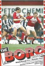 Football Programme - Middlesbrough v Swindon Town - Div 2 - 11/11/1989