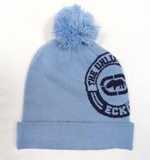 Ecko Unltd. Blue Knit Beanie Skull Cap with Pom Pom Mens One Size NWT