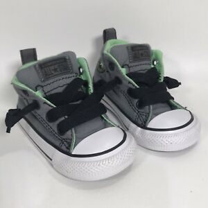 Converse All Star Chuck Taylor Baby Size 4 Grey Green Black Slip On Toddler