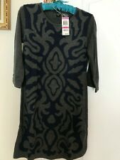 Style & Co. Women's Three-Quarter-Sleeve Jacquard Charcoal Heather Ink Size PP