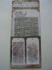 TIM HOLTZ COLLECTION BURLAP & BUBBLE LAYERING STENCILS MI-THS501 BNIP *LOOK*