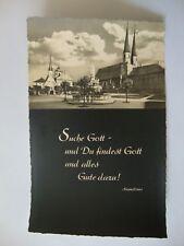 s/w-Foto-AK Abend über Altötting mit Zitat von Augustinus, ungelaufen, ca. 1960