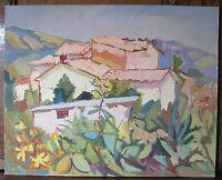 Vue de un Borgo Ancienne Tableau Peinture Huile sur Certificat p12