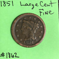 1851 1c  Braided Hair Large Cent Fine