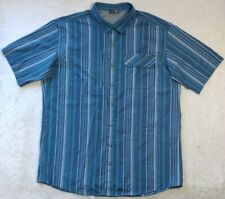 Eddie Bauer Button Down Front Vented Short Sleeve Shirt Blue Stripe Men TXL NWOT