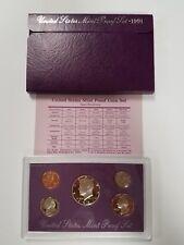 PS0591BMC US MINT PROOF 5 COIN SET 1991 BASE METAL CAMEO FRESH OGP SHIPS FREE!!!