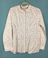 White Stuff Cream Black Pink Paperclip Print Smart Stretch Shirt 16 - B34