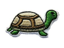 Turtle Tortoise Green Beige Brown Child Embroidered Iron On Patch 1.5 Inch