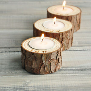 Personalized Candle Holders, Natural Candle Holders, Custom Wooden Candle Holder