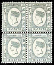 Labuan 1894 QV 16c grey in an superb MNH block of four. SG 56.