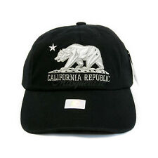 BLACK Embroidery 'CALIFORNIA REPUBLIC' BEAR Dad Hat Baseball Cap Unconstructed