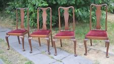 Four Antique High Back Queen Anne Dining Chairs Cabriole Legs Opera Red Velvet
