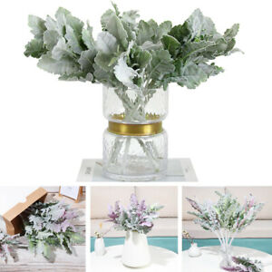 Home Decoration Artificial Plant Flocked Lambs Ear Leaves Dusty Miller Stems