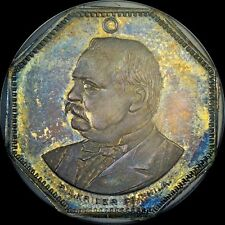 """FINEST & ONLY 1888 GROVER CLEVELAND NGC MS65 """"RED BANDANA MEDAL"""" TONED 0 @ PCGS"""