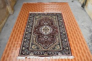 Red Color Silk Carpet Area Rug Vintage Look 4x6 foot Turkish Hand Knotted Rug