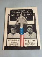1933 World Series Program Opie Reprint Washington Nationals vs. Giants 579/1000