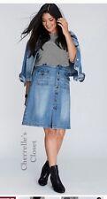 NEW Lane Bryant Plus 26W Distressed Denim Stretch Button Front Blue Jean Skirt