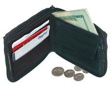 Black Men's Genuine Leather Credit Card ID Bifold Wallet Zip Around Coin Pocket