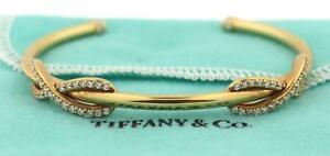 Tiffany & Co. 18k Yellow Gold Diamond Infinity Double Cuff Bracelet Medium $6.5K