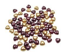 100 x Borgogna Scuro E Oro MIX 8 mm Pearl Piatto Sostenuta Cuore Forma Perline Natale