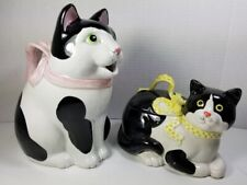 New listing Rare Vintage 1983 Fitz & Floyd Ribbon Cat Pitcher & Covered Dish Set/Oig. Labels