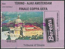 65604 - BIGLIETTO PARTITA CALCIO Coppa Uefa 1992 : TORINO / AJAX Amsterdam