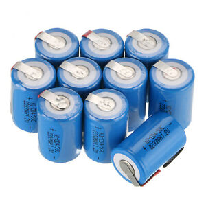 10pcs Ni-Cd 4/5 Sub C SC 1.2V 2200mAh Rechargeable Battery With Tap