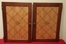 Hudson River Inlay Compass Rose Nelson marquetry cherry wood cabinet panel doors