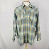 Wrangler XL Multi Color Plaid Pearl Snap Western Mens Shirt Cotton