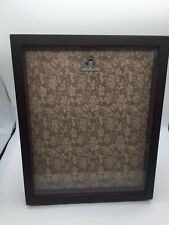 "Shadow Box Wooden Photo Menu Memory item Frame  Clip floral Backing 8.5"" X 10.5"""