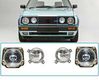 VW GOLF MK2 1984-1992 Front Headlights And Halogen Set LEFT + RIGHT 4PCS NEW LHD