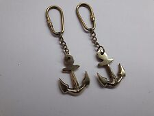 2 X Beautiful Brass Ship Anchor Key chain old style antique qualityNautical Xmas