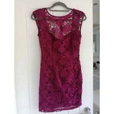Lipsy London Magenta Purple party Floral Lace  Sleeveless Fitted Dress 8
