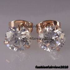 New 18K Rose Gold GP Clear White Crystal inlaid Solitaire Studs Earrings IE082A