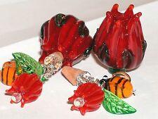 1pc Glass upright Rose Bud BOTTLE bee oil perfume pendant lampwork bead New