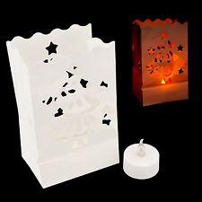 Candle Bag Battery LED Flicker Tea Light Paper Lantern Christmas Tree Festive